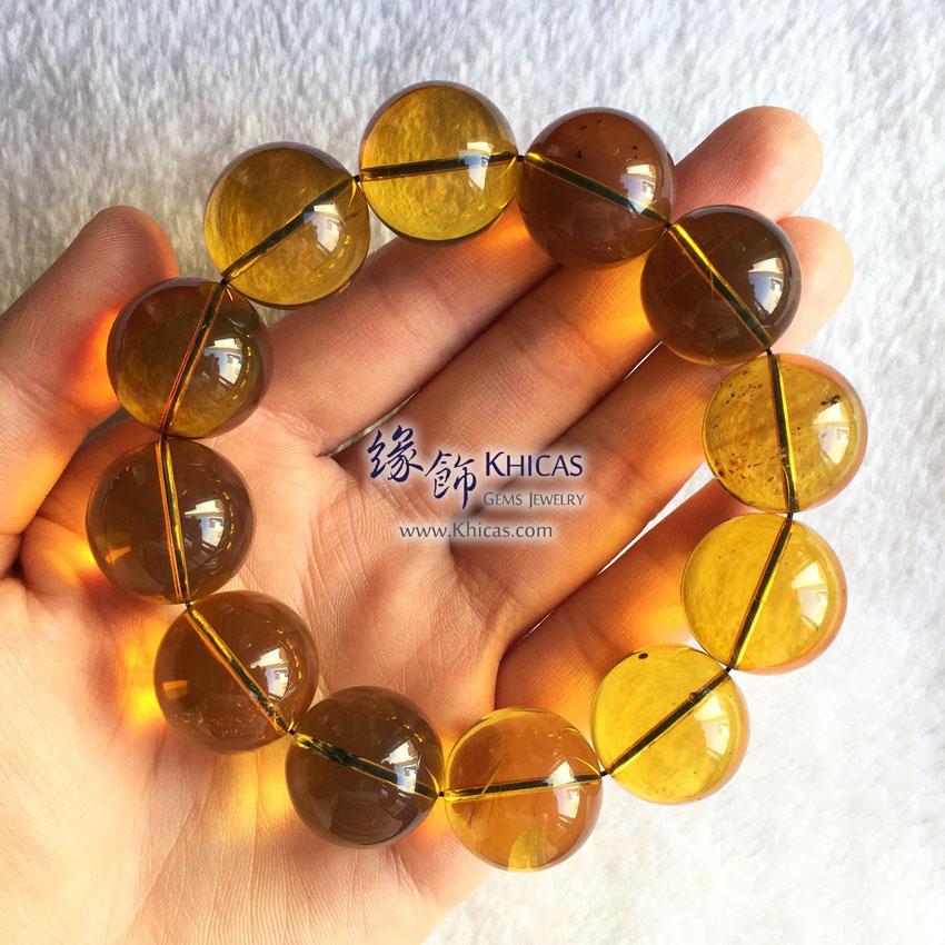 墨西哥藍珀手串 21.5mm+/- Blue Amber Bracelet KH145393 by Khicas Gems 緣飾天然水晶