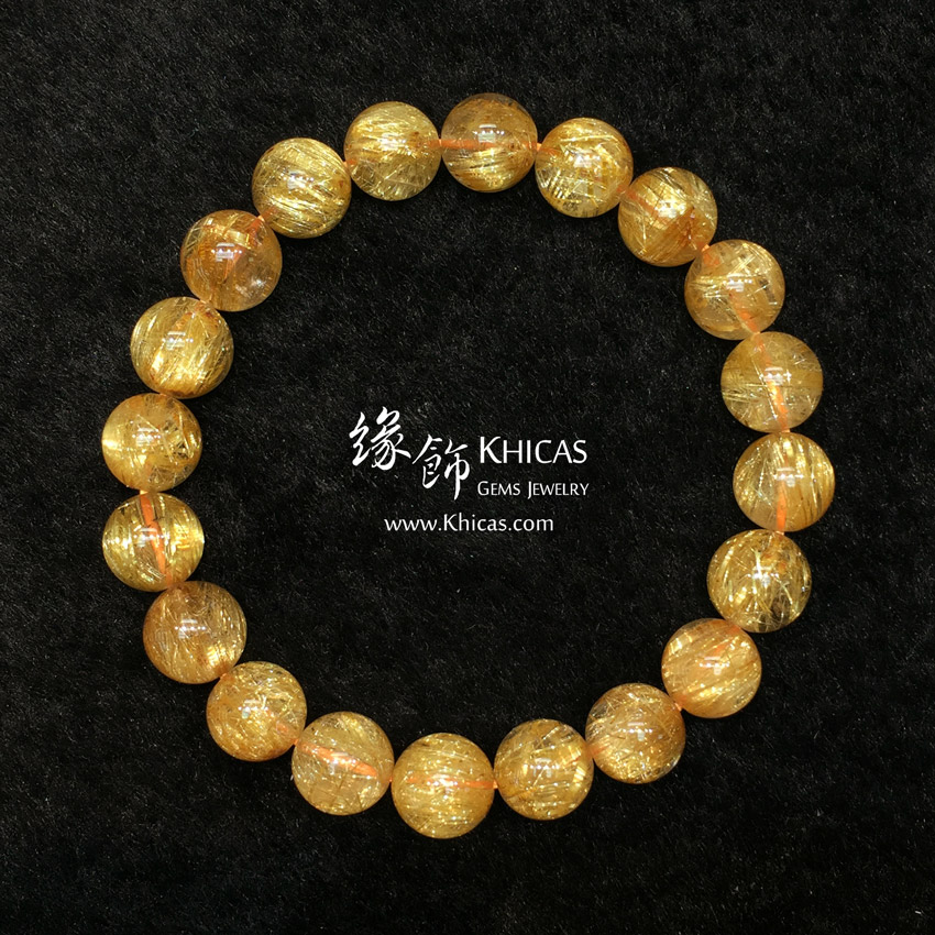 巴西 5A+ 金鈦晶手串 9.8mm Gold Rutilated Bracelet KH145408 @ Khicas Gems 緣飾天然水晶