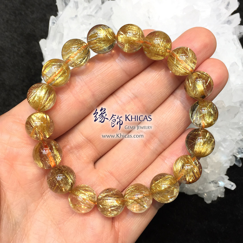 巴西 5A+ 金鈦晶手串 11.5mm Gold Rutilated Bracelet KH145422 @ Khicas Gems 緣飾天然水晶