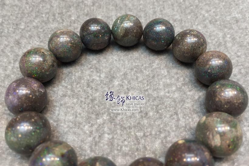 澳洲黑澳寶(蛋白石)手串 14.8mm+/- Black Opal Bracelet KH145434 @ Khicas Gems Jewelry 緣飾天然水晶