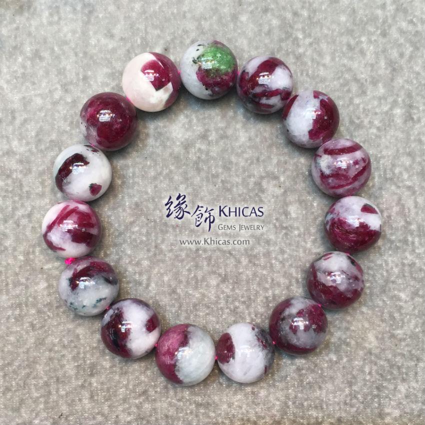 緬甸 4A+ 玉化紅綠寶石手串 14mm Ruby Bracelet KH145818 @ Khicas Gems Jewelry 緣飾天然水晶