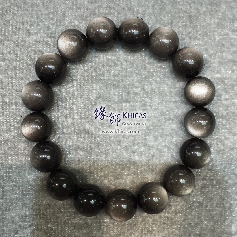 墨西哥 5A+ 銀曜石手串 12.5mm Silver Sheen Obsidian KH145821 @ Khicas Gems Jewelry 緣飾天然水晶