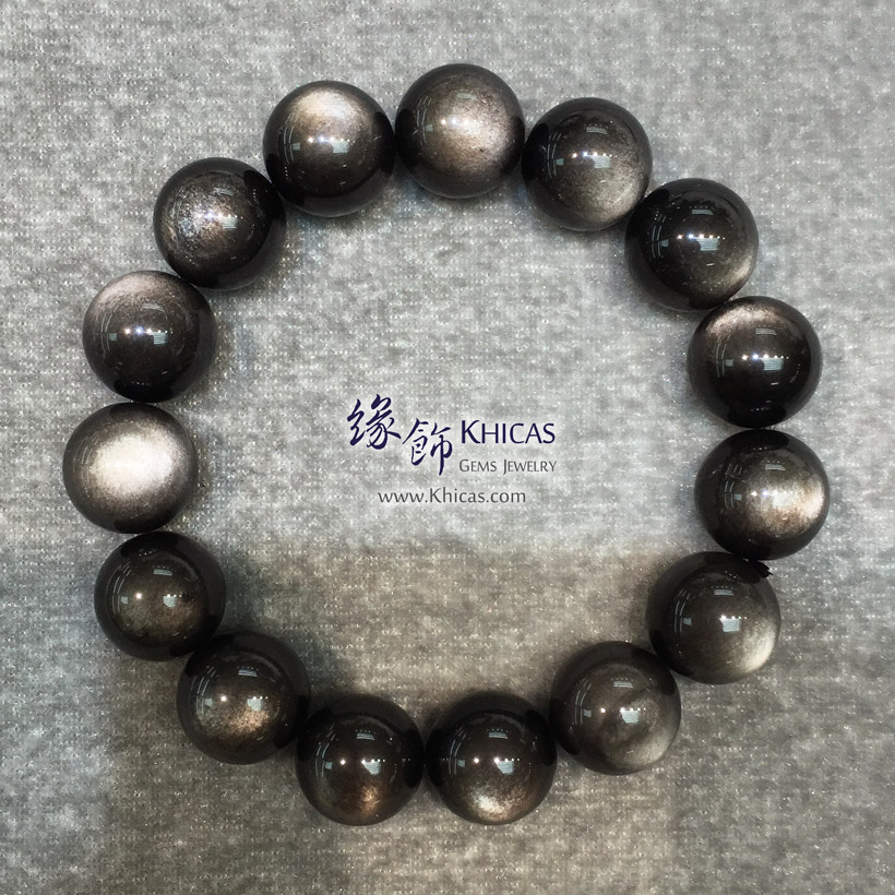墨西哥 5A+ 銀曜石手串 14mm Silver Sheen Obsidian KH145822 @ Khicas Gems Jewelry 緣飾天然水晶