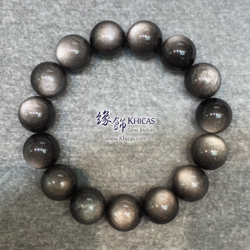 墨西哥 5A+ 銀曜石手串 14.2mm Silver Sheen Obsidian KH145823 @ Khicas Gems Jewelry 緣飾天然水晶
