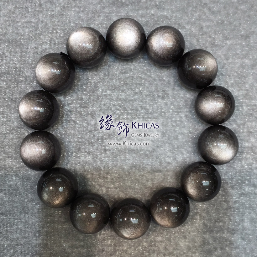 墨西哥 5A+ 銀曜石手串 16.5mm Silver Sheen Obsidian KH145824 @ Khicas Gems Jewelry 緣飾天然水晶