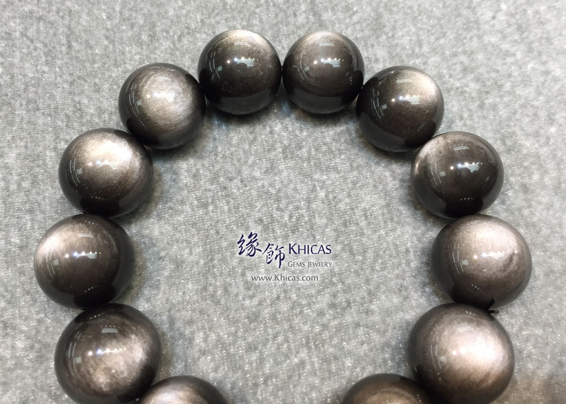墨西哥 5A+ 銀曜石手串 18mm Silver Sheen Obsidian KH145942 @ Khicas Gems Jewelry 緣飾天然水晶