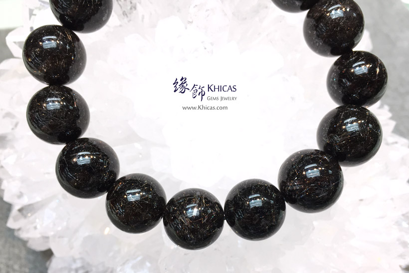巴西 5A+ 黑銀髮晶手串 14.7mm Black Silver Rutilated Quartz KH146054 @ Khicas Gems Jewelry 緣飾天然水晶