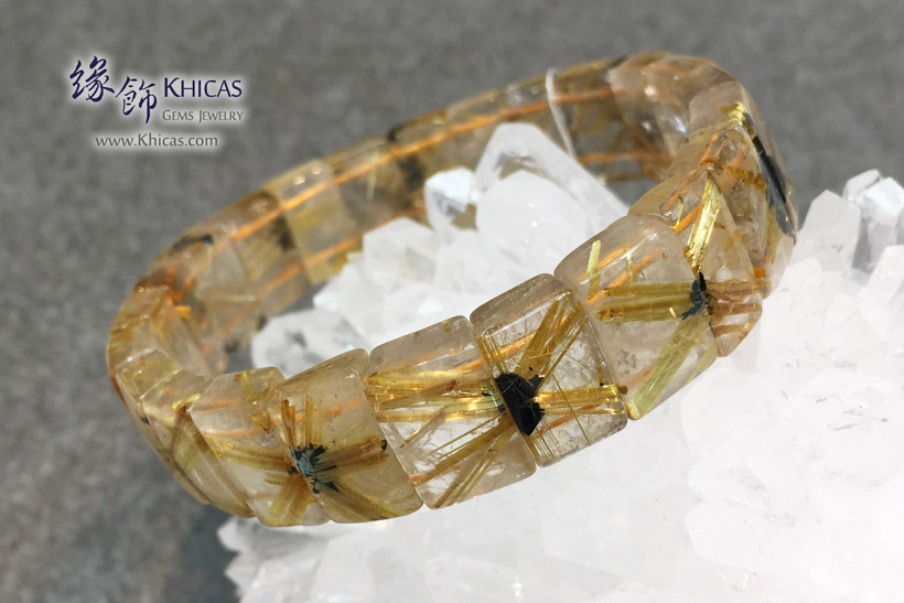 巴西 4A+ 爆花金鈦晶手排 15.1x6.4mm Golden Rutilated Quartz KH146067 @ Khicas Gems Jewelry 緣飾天然水晶