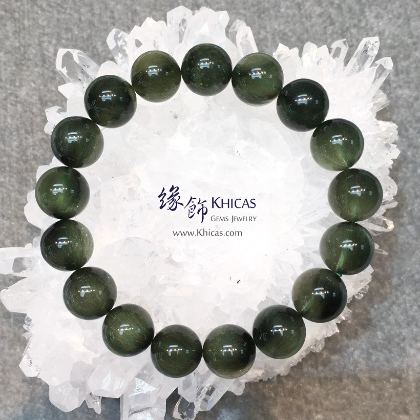 巴西 5A+ 貓眼兔毛綠髮晶手串 12.4mm Green Rutilated Quartz KH146069 @ Khicas Gems Jewelry 緣飾天然水晶