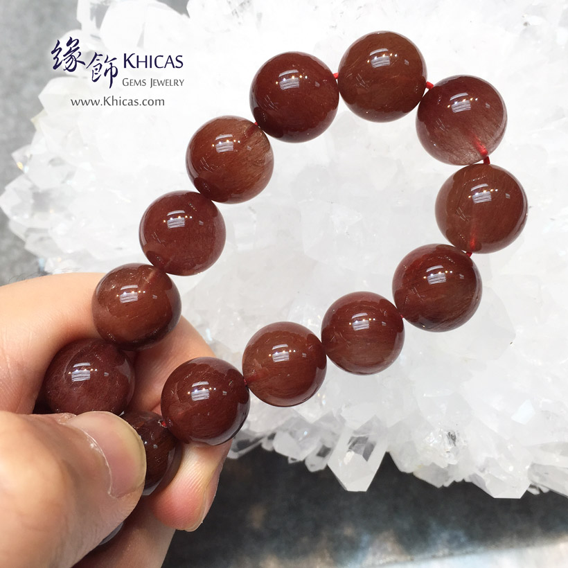 巴西 5A+ 兔毛紅髮晶手串 13mm Red Rutilated Quartz KH146281 @ Khicas Gems Jewelry 緣飾天然水晶