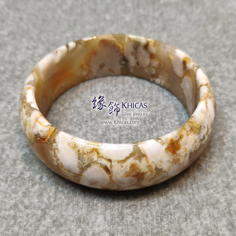 馬達加斯加 5A+ 櫻花瑪瑙寛版手鐲 21.7x7.3mm(內徑 59.8mm) Blossoms Agate Bangle KH146419 @ Khicas Gems 緣飾