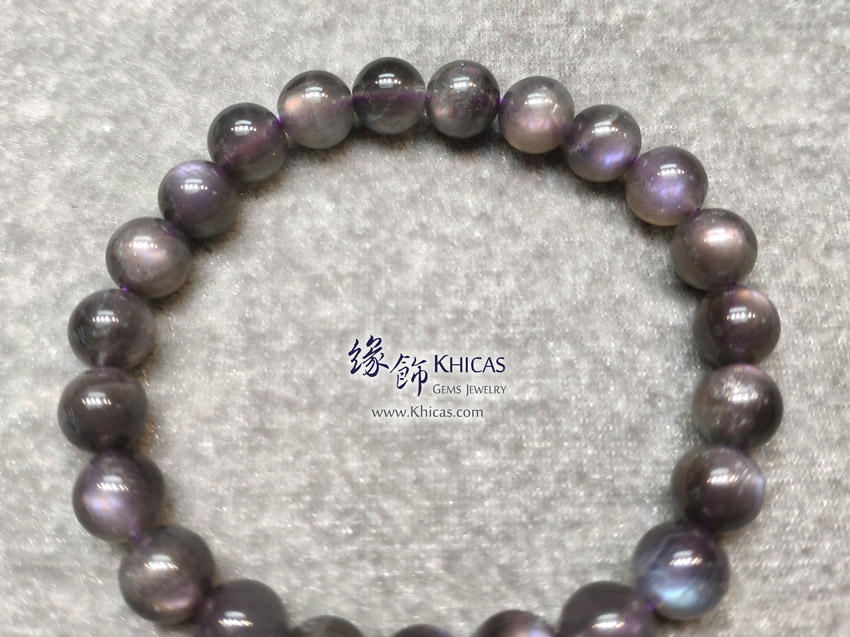 印度 5A+ 紫光拉長石手串 8.5mm+/- Labradorite Bracelet KH146483 @ Khicas Gems Jewelry 緣飾天然水晶