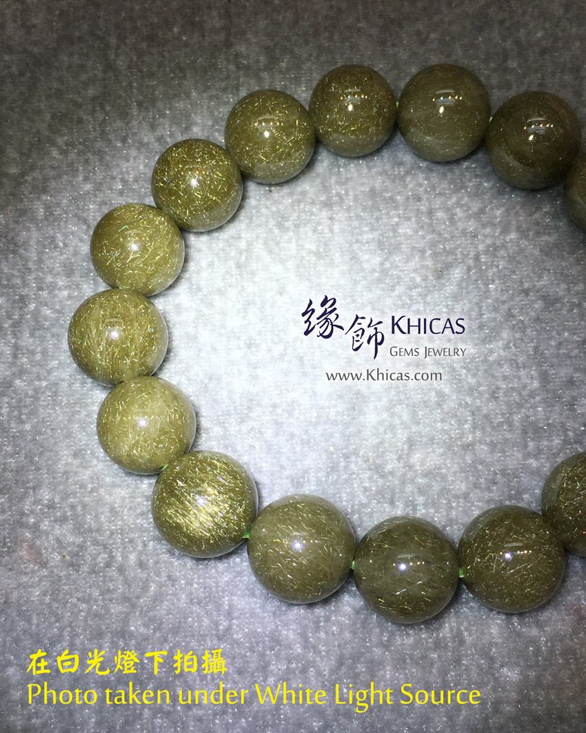 巴西 5A+ 兔毛金綠髮晶手串 12.8mm Golden Green Rutilated Bracelet KH146501 @ Khicas Gems Jewelry 緣飾天然水晶