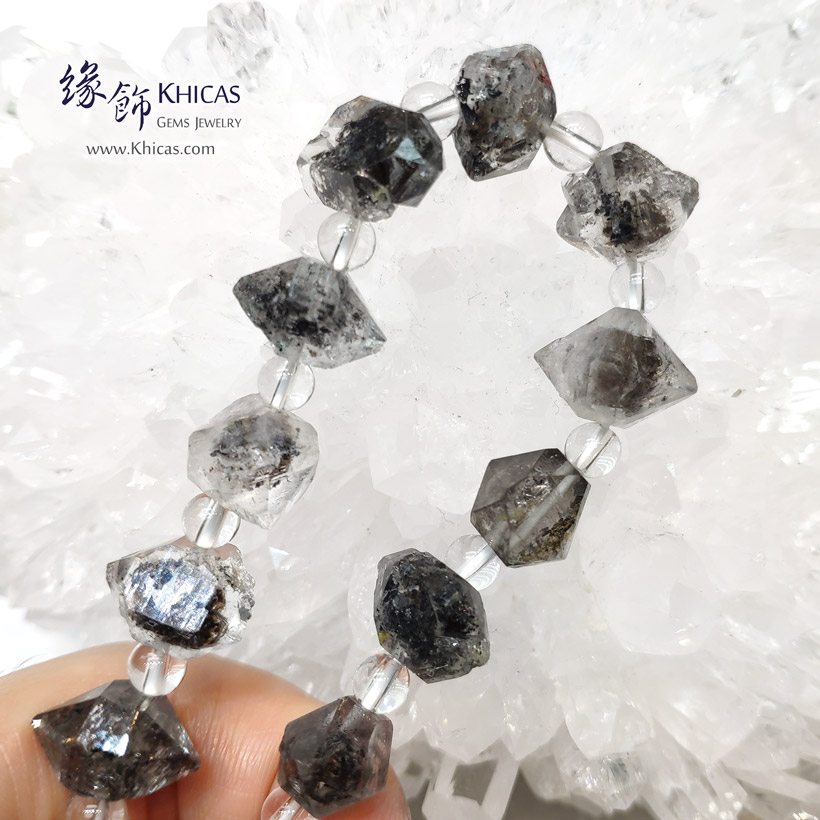 黑閃靈鑽原石手串 Black Herkimer Diamond Bracelet KH146760 @ Khicas Gems Jewelry 緣飾天然水晶