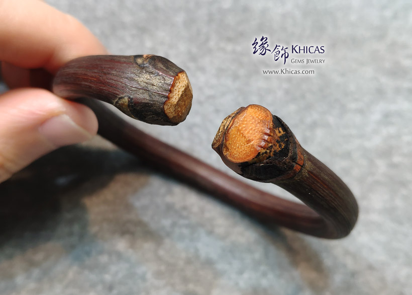 西藏雞血滕手環(圈口 65x57mm)Spatholobus Stem Bangle KH146787 @ Khicas Gems Jewelry 緣飾天然水晶