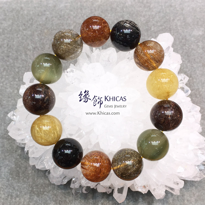 巴西 5A+ 福祿壽(多寶髮晶)手串 18.3mm Multi-color Rutilated Quartz KH146843 @ Khicas Gems Jewelry 緣飾天然水晶