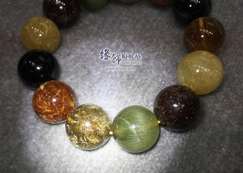 巴西 5A+ 福祿壽(多寶髮晶)手串 18.3mm Multi-color Rutilated Quartz KH146843 @ Khicas Gems Jewelry 緣飾天然水晶