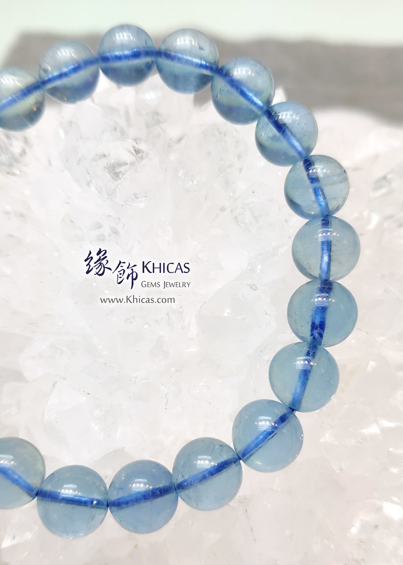巴西 5A+ 冰透海藍寶手串 9.3mm Aquamarine Bracelet KH147474-1 @ Khicas Gems Jewelry 緣飾天然水晶
