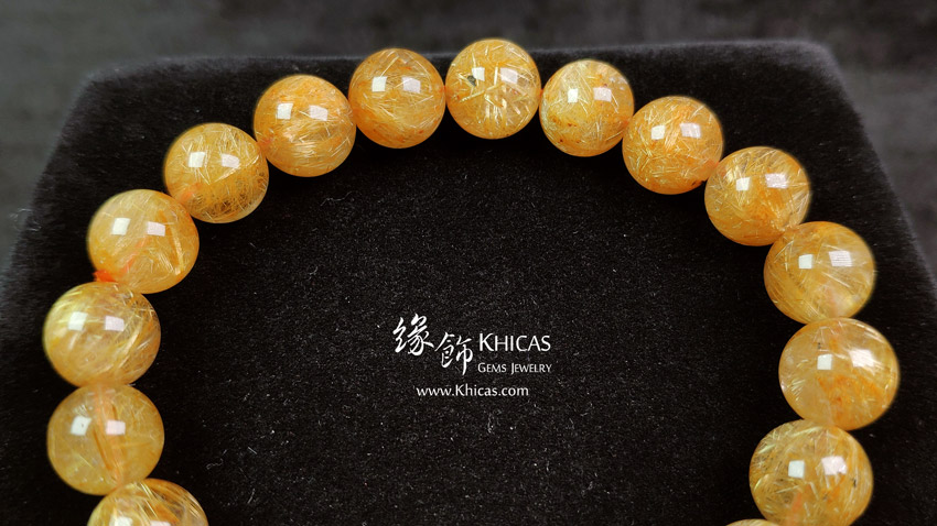 巴西 5A+ 金鈦晶手串 9.6mm Gold Rutilated Bracelet KH148053 @ Khicas Gems 緣飾天然水晶