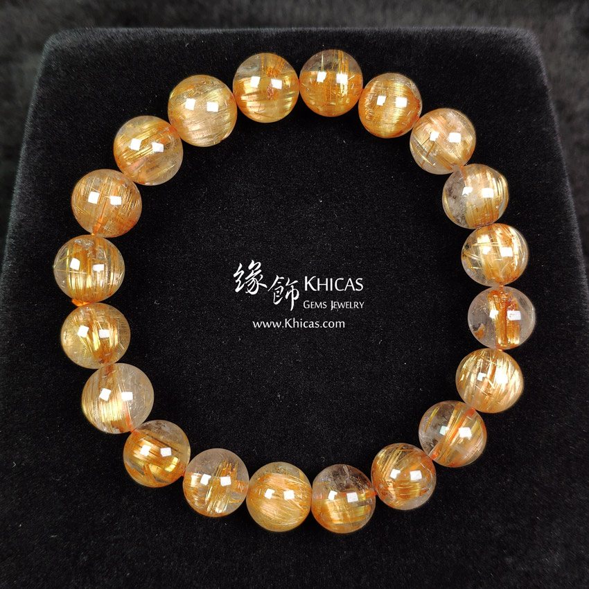 巴西 4A+ 貓眼金鈦晶手串 10mm Gold Rutilated Bracelet KH148057 @ Khicas Gems Jewelry 緣飾天然水晶