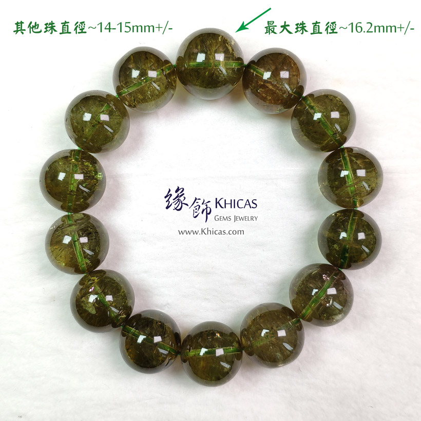 巴西 5A+ 玻璃種綠碧璽手串 ~14-15mm+/-(另包含一粒特大16.2mm+/-) Green Tourmaline Bracelet KH148221 @ Khicas Gems Jewelry 緣飾天然水晶