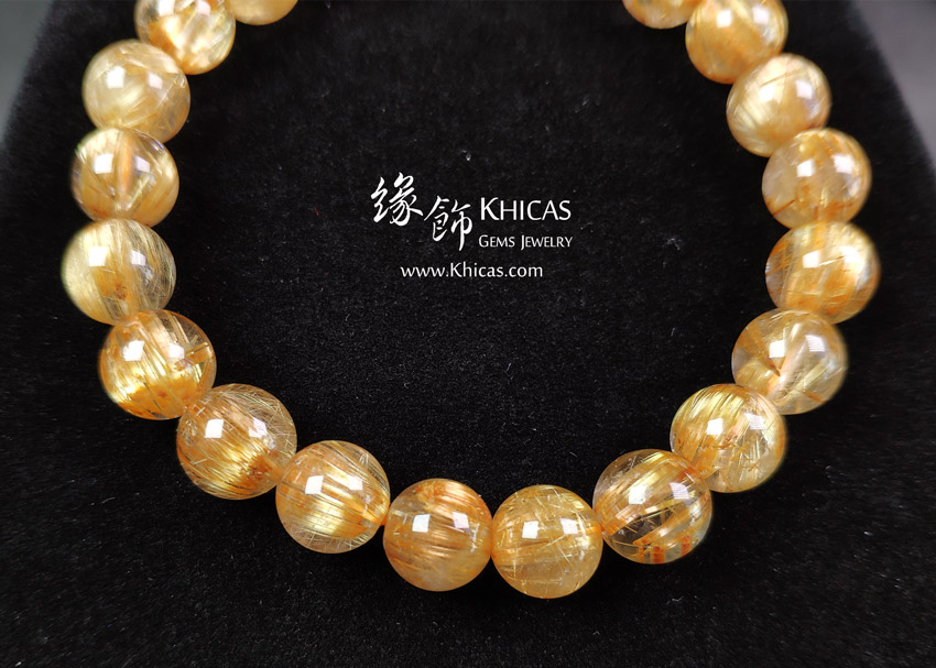 巴西 5A+ 貓眼金鈦晶手串 9.3mm Gold Rutilated Bracelet KH148654 @ Khicas Gems Jewelry 緣飾天然水晶