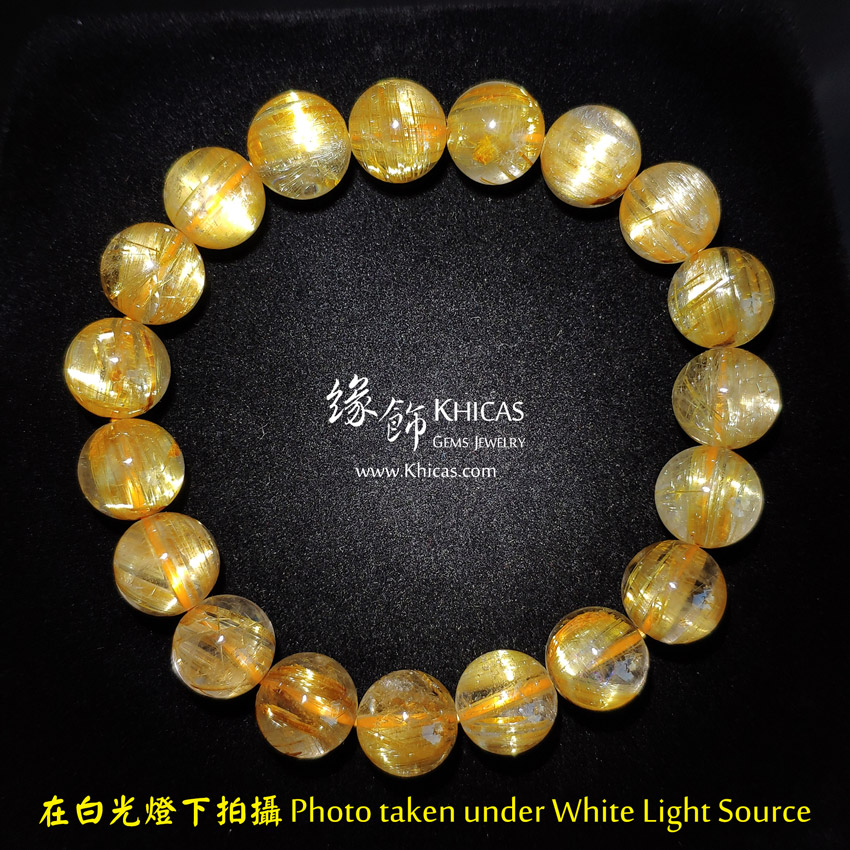 巴西 5A+ 貓眼金鈦晶手串 10mm Gold Rutilated Bracelet KH148655 @ Khicas Gems Jewelry 緣飾天然水晶