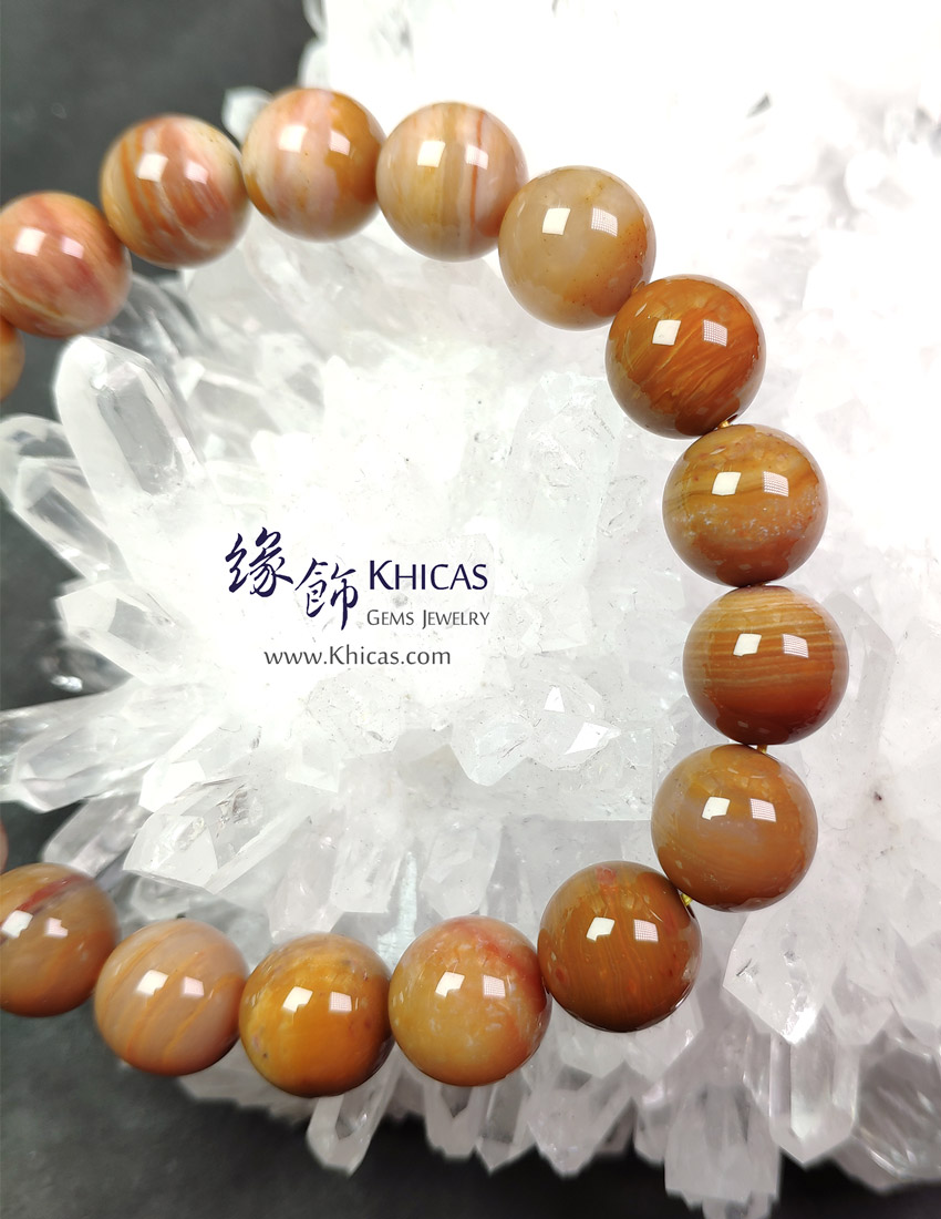 緬甸 5A+ 木化玉 / 玉化木化石手串 11.3mm+/- Petrified Wood Fossil Bracelet KH148676 @ Khicas Gems 緣飾天然水晶