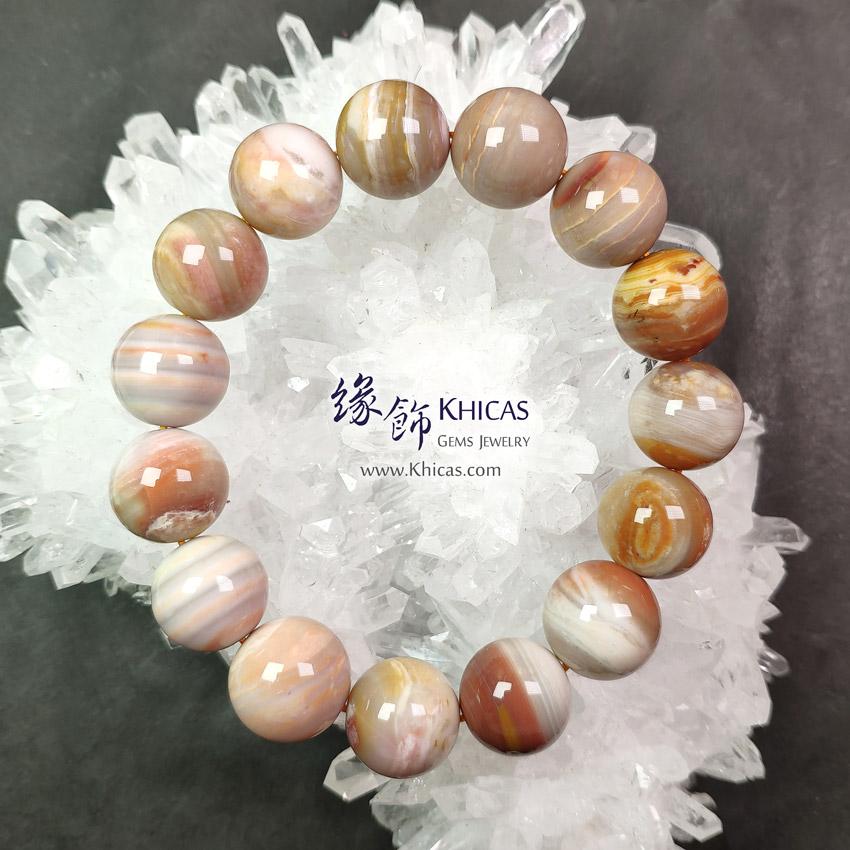 緬甸 5A+ 木化玉 / 玉化木化石手串 15mm+/- Petrified Wood Fossil Bracelet KH148680 @ Khicas Gems 緣飾天然水晶