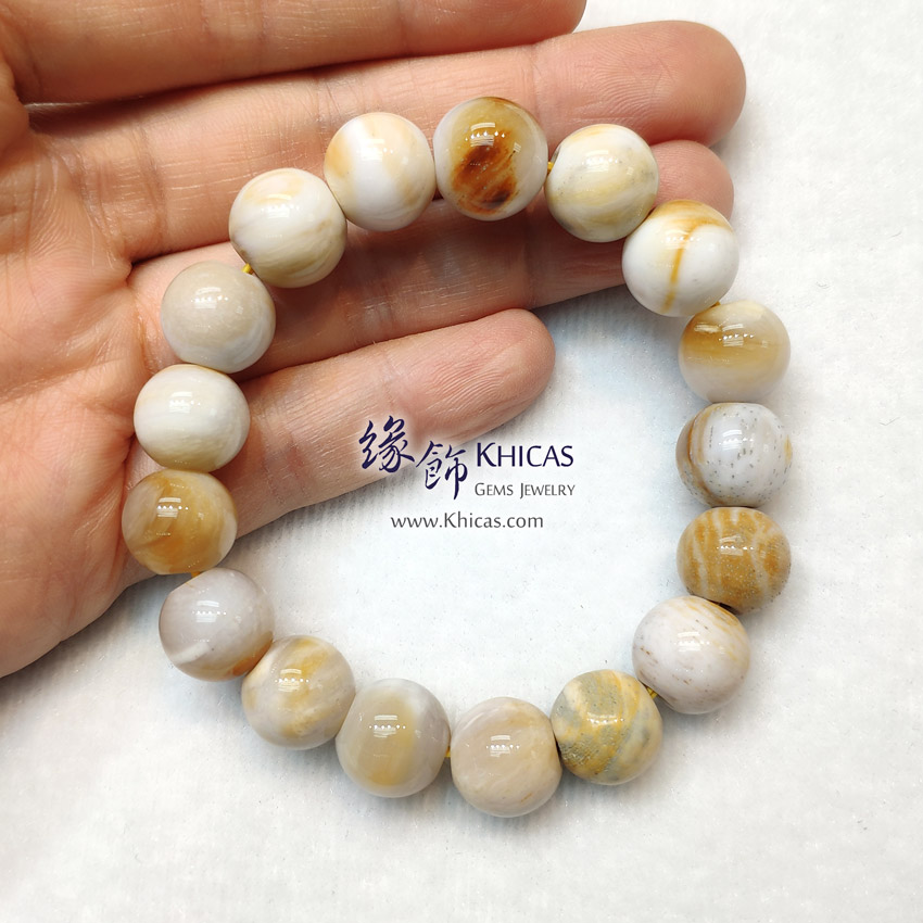 緬甸 木化玉 / 玉化木化石 小橢圓形珠手串 12.6mm+/- Petrified Wood Fossil Bracelet KH149203 @ Khicas Gems Jewelry 緣飾天然水晶