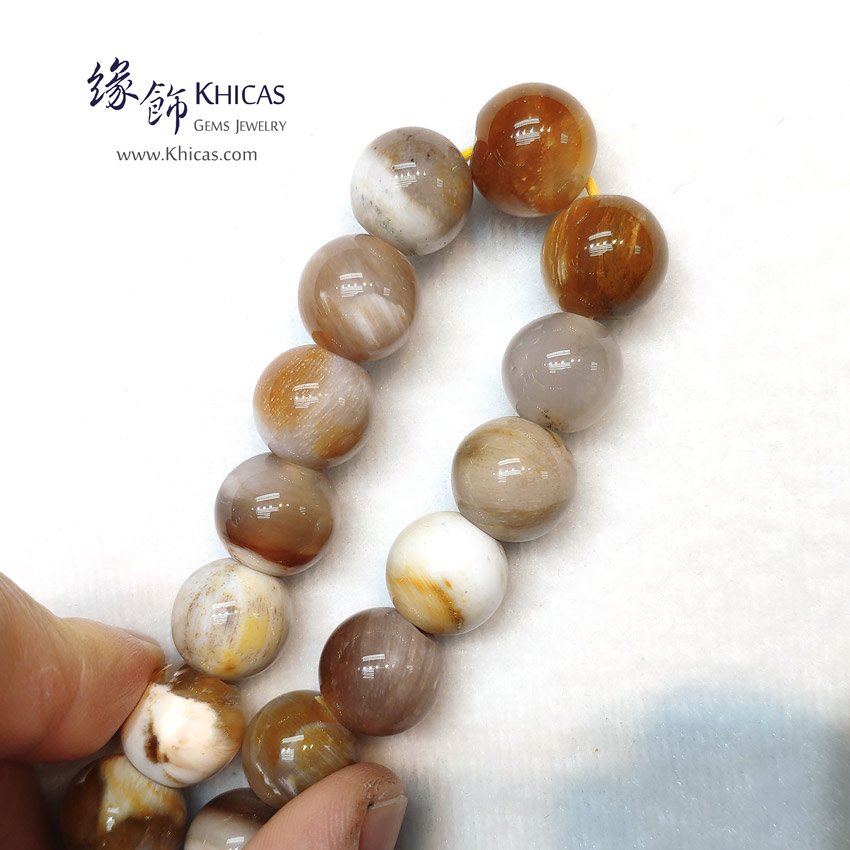 緬甸 木化玉 / 玉化木化石 小橢圓形珠手串 13.5mm+/- Petrified Wood Fossil Bracelet KH149204 @ Khicas Gems Jewelry 緣飾天然水晶