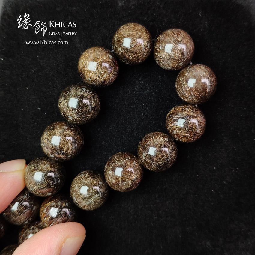 巴西 5A+ 黑銅鈦晶手串 12.8mm+/- Black Copper Rutilated Quartz KH149207 @ Khicas Gems Jewelry 緣飾天然水晶