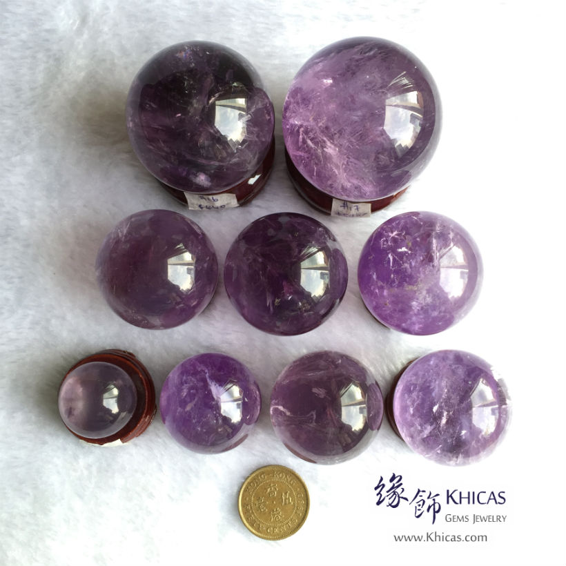 巴西紫水晶球連木座 Amethyst Crystal Balls DEC14100103-106 @ Khicas Gems Jewelry 緣飾天然水晶
