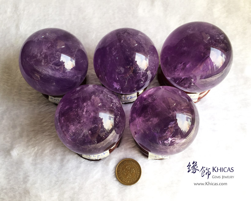 巴西紫水晶球連木座 Amethyst Crystal Balls DEC1410112-116 @ Khicas Gems Jewelry 緣飾天然水晶