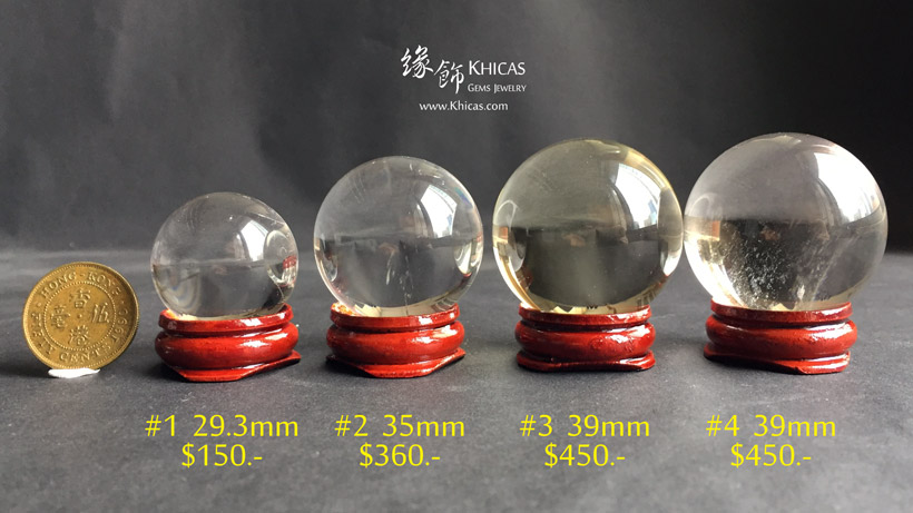 巴西近全清白水晶球連木座 White Quartz Crystal Gemstone Balls DEC1410136-139 @ Khicas Gems Jewelry 緣飾天然水晶