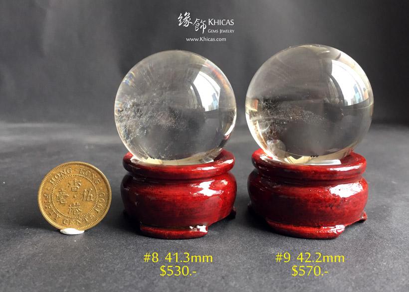 巴西近全清白水晶球連木座 White Quartz Crystal Gemstone Balls DEC1410140-142 @ Khicas Gems Jewelry 緣飾天然水晶