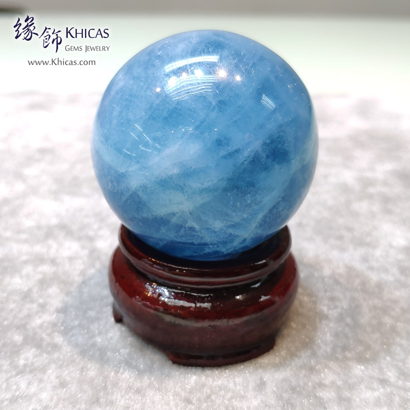 巴西海藍寶水晶球連木座 Aquamarine Beryl Crystal Balls DEC1410160 @ Khicas Gems Jewelry 緣飾天然水晶