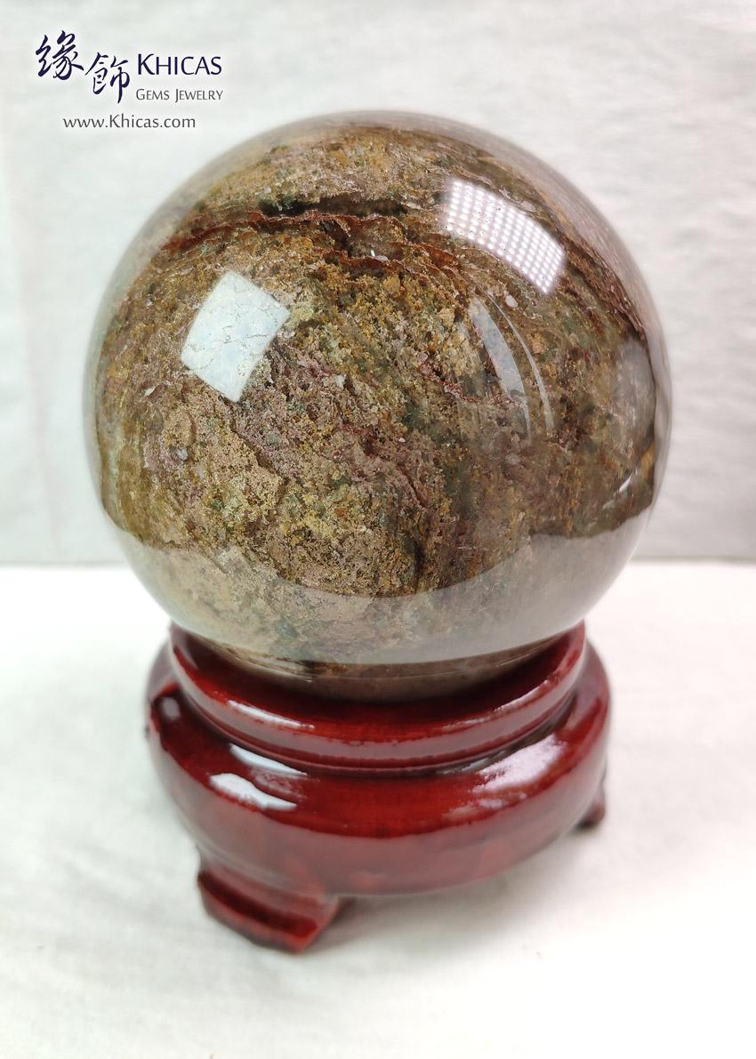 巴西千層紅+綠幽靈水晶球 75.2mm Red Green Phantom Crystal Ball DEC1410179 @ Khicas Gems Jewelry 緣飾天然水晶