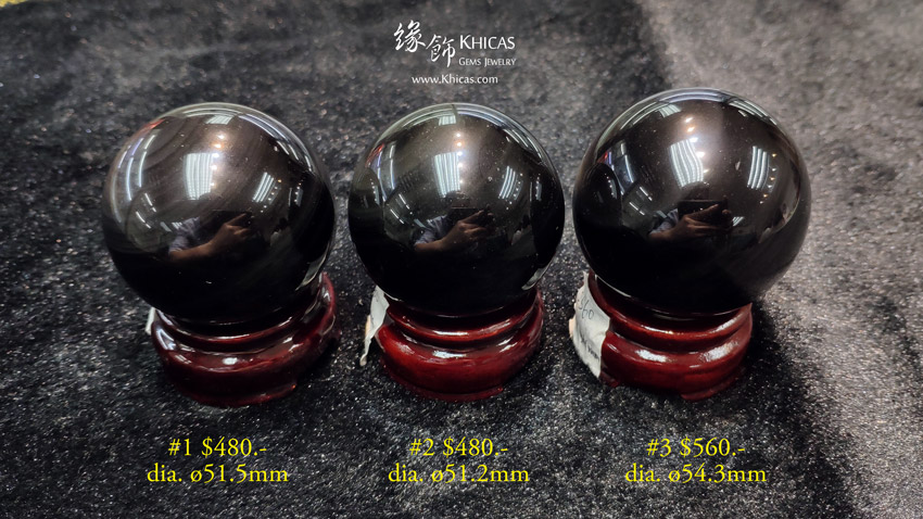 黑曜石水晶球擺設 / 擺件 Obsidian stone crystal balls decoration DEC1410191-193 @ Khicas Gems Jewelry 緣飾天然水晶