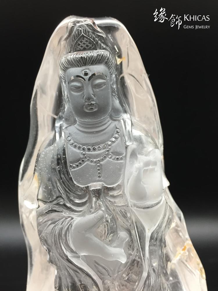 Khicas Gems 緣飾天然水晶 觀音像白水晶雕件 CL1506014