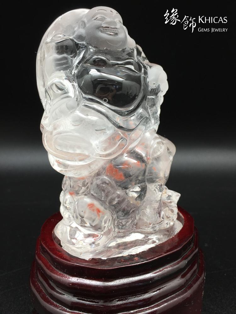 Khicas Gems 緣飾天然水晶 彌勒笑佛腳踏蟾蜍水晶雕件 CL1506015