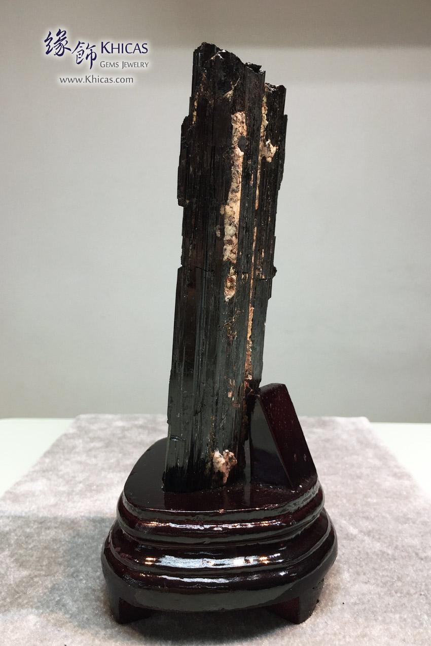 黑碧璽原礦連木座擺設 Schorl Black Tourmaline Rough Stone DEC1410075 638 @ Khicas Gems 緣飾天然水晶