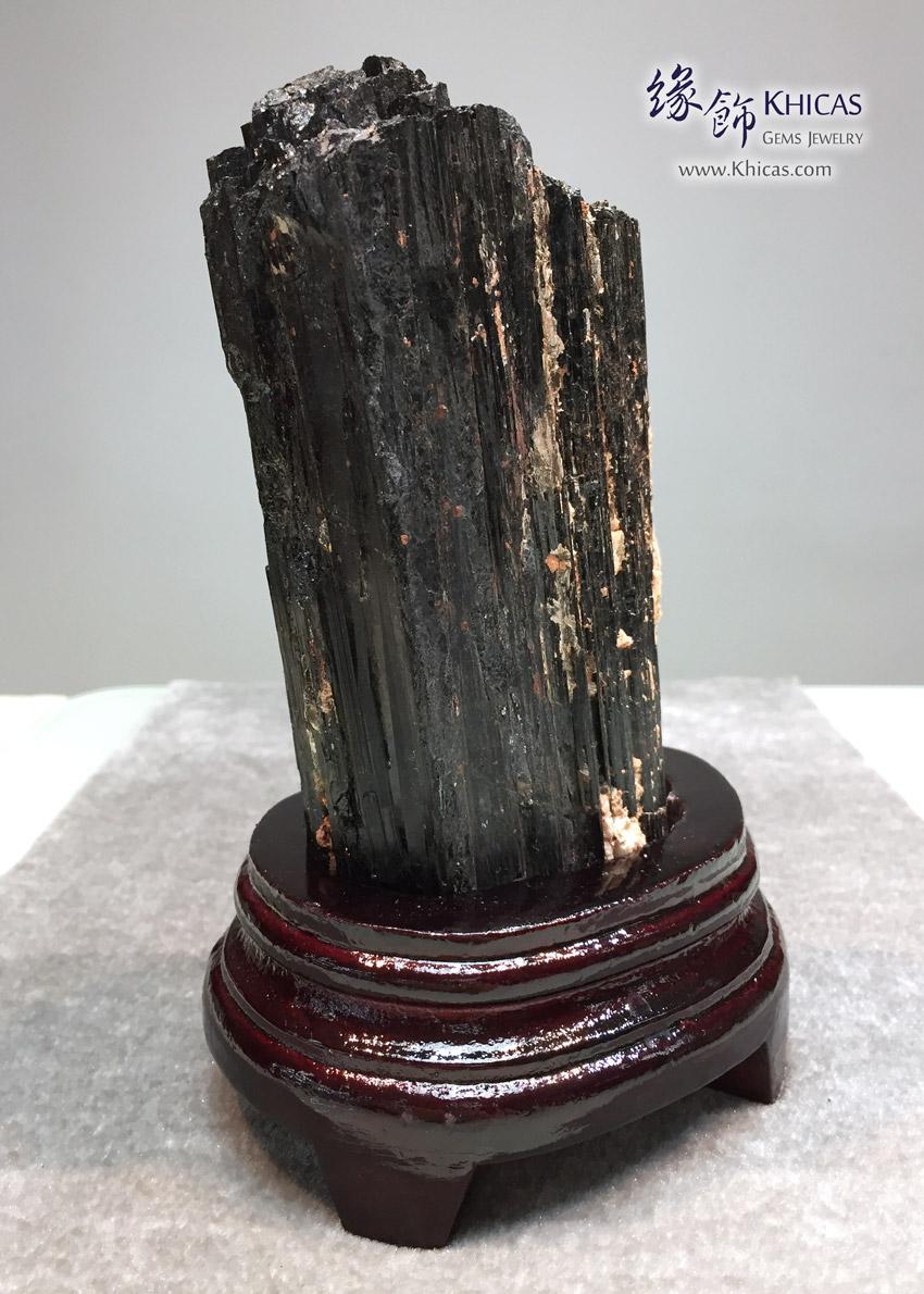 黑碧璽原礦連木座擺設 Schorl Black Tourmaline Rough Stone DEC1410076 639 @ Khicas Gems 緣飾天然水晶
