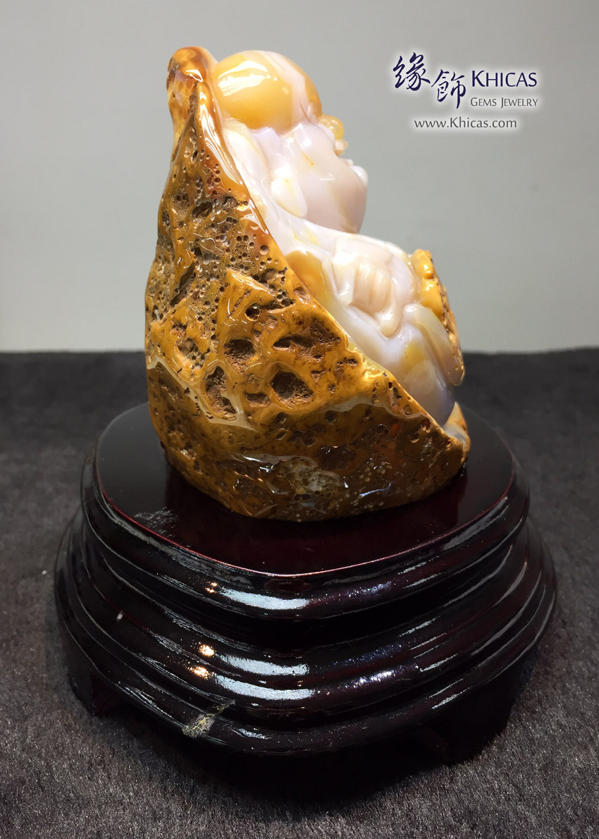 巴西玉髓原石雕笑佛擺件 Agate Chalcedony Buddha Rough Raw Stone DEC1410081-519 @ Khicas Gems Jewelry 緣飾天然水晶