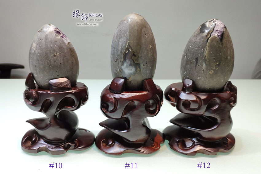 烏拉圭鵝蛋形 迷你紫晶洞 連木座 Amethyst Cluster Furnish DEC1410183-185 @ Khicas Gems Jewelry 緣飾天然水晶