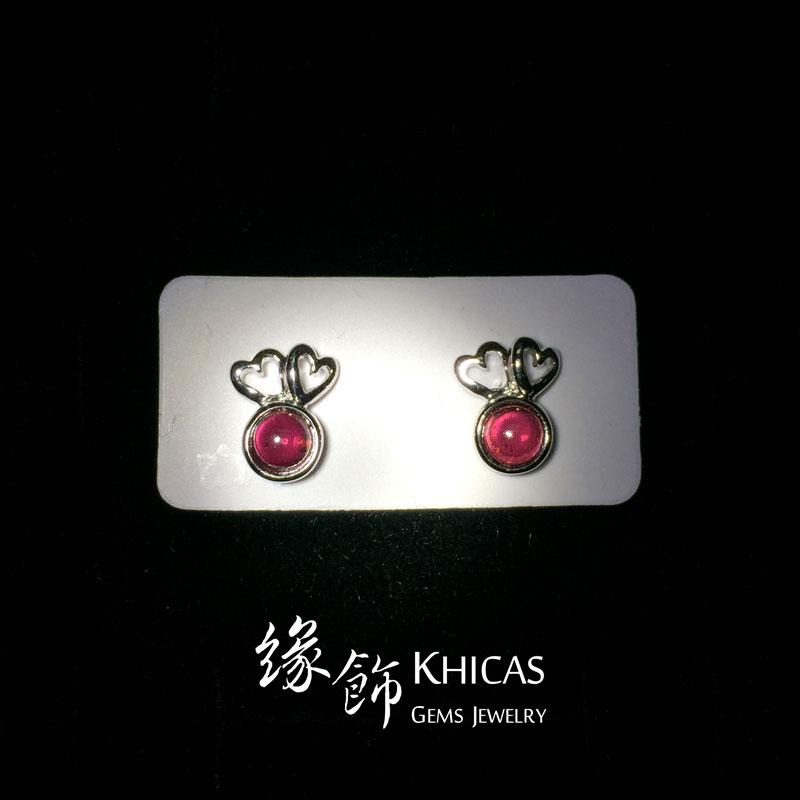 酒紅石榴石 心心雙印耳環 Garnet Earrings EA160101 @ Khicas Gems 緣飾