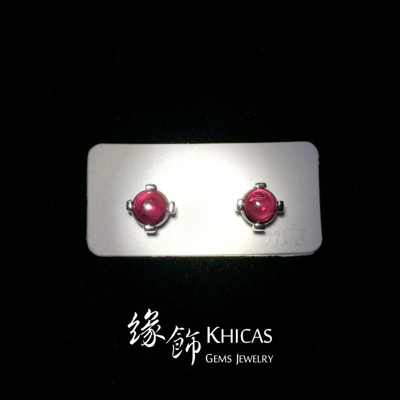 酒紅石榴石 四爪鑲小圓釘耳環 Garnet Earrings EA160108 @ Khicas Gems 緣飾