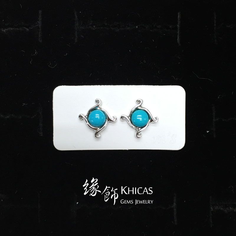 美國綠松石 風圓珠耳環 Turquoise Earrings EA160126 @ Khicas Gems 緣飾