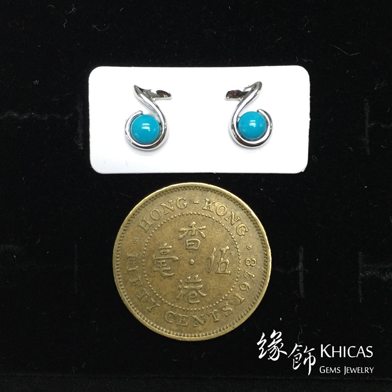 美國綠松石 音符耳環 Turquoise Earrings EA160127 @ Khicas Gems 緣飾