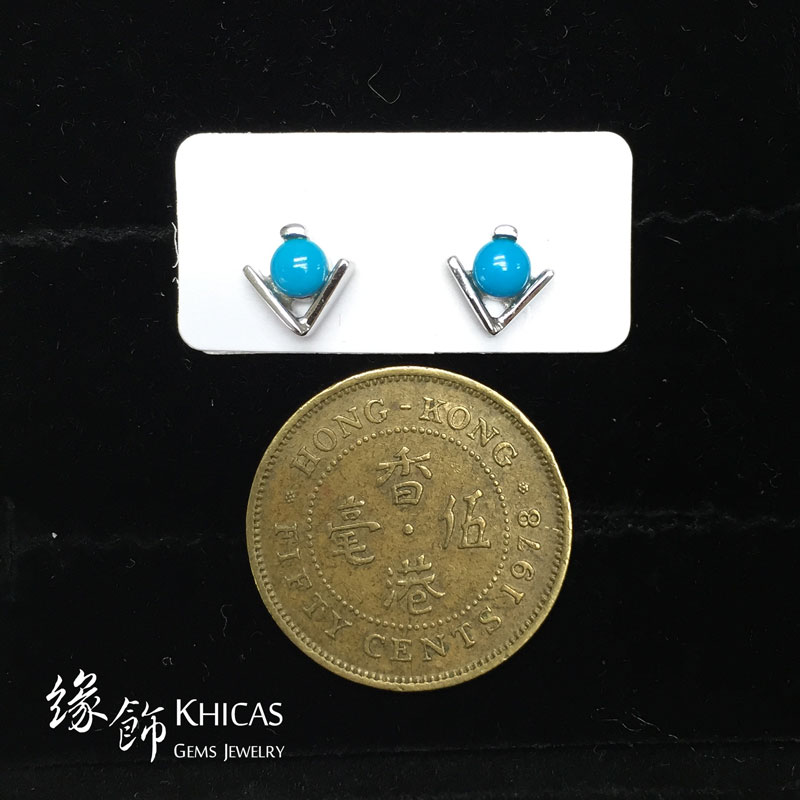 美國綠松石 V形耳環 Turquoise Earrings EA160131 @ Khicas Gems 緣飾